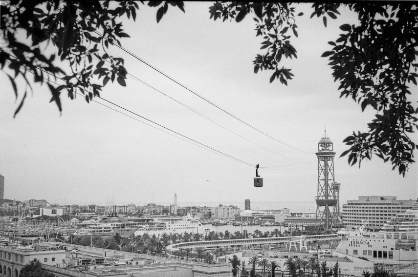 The aerial tramway, seen from the Monjuïc, Barcelona.