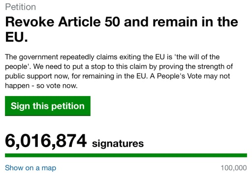 Six Million sign petition to cancel Brexit.