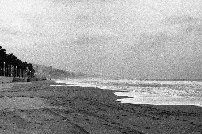 Stormy beach scene, Badalona